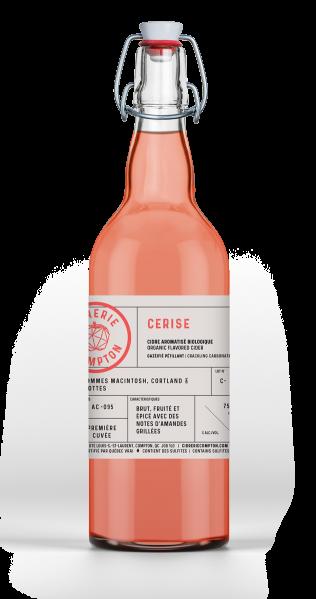 Cidre biologique Cerise fait avec des pommes du Québec et cerises griottes, vielli en barrique de vin rouge de la Cidrerie Compton