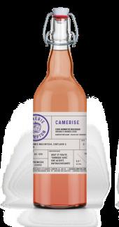 Cidre biologique Camerise fait avec des pommes du Québec et camerise de la Cidrerie Compton